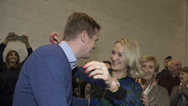 9/2/20 Helen McEntee celebrates getting re-elected with her husband Paul and supporters at the Election 2020 count centre for Meath East in Ashbourne, Co Meath. Picture: Arthur Carron.