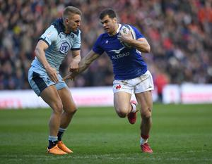 France wing Damian Penaud is impressive with the ball but his defence isn't good enough for a side with ambitions to win the Six Nations. Photo: Getty
