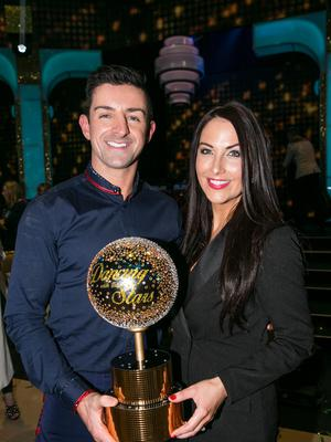 Aidan O'Mahony with his wife Denide Healy after he won Dancing with the Stars .