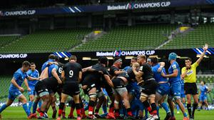Saracens players celebrate winning a scrum penalty during the Heineken Champions Cup Quarter-Final win over Leinster