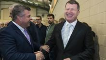 Malcolm Byrne FF (Right) congratulated by Cllr George Lawlor Labour. Picture: Patrick Browne