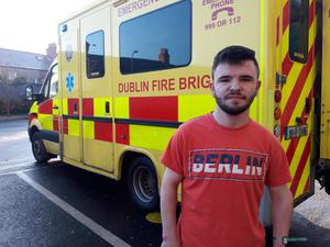 Patient Anthony Nolan (21) outside the Mater Hospital yesterday