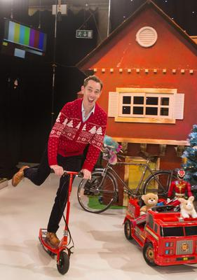 Ryan Tubridy is pictured revealing the set for this year's The Late Late Toy Show