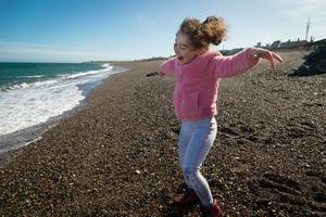 Home alone: Greystones native Lana-Rose Breslin (5) celebrates having the South Beach completely to herself as the lockdown continues