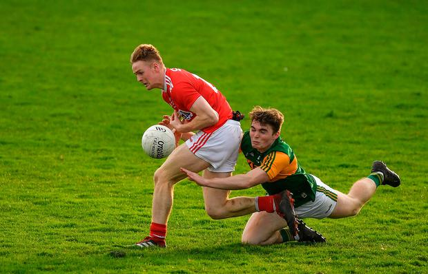 Cork's Damien Gore is tackled by Dan McCarthy of Kerry during the 2020 McGrath Cup Group B match at Austin Stack Park in Tralee, Kerry. Photo: Brendan Moran/Sportsfile