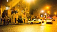 Gardai investigate the shooting of a man at a house on Poplar Row in the North inner city in Dublin. Picture: Arthur Carron