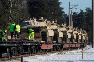 Last month workers unloaded US M1 Abrams tanks that will be deployed in Latvia for NATO's Operation Atlantic Resolve in Garkalne, Latvia Picture: Reuters