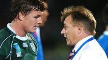 Brian O'Driscoll talks with then Ireland coach Eddie O'Sullivan after their narrow win over Georgia at the 2007 Rugby World Cup in France. Photo: Brendan Moran / SPORTSFILE