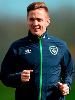 Kevin Doyle during Republic of Ireland squad training in Abbotstown, Co. Dublin. Photo: David Maher/Sportsfile