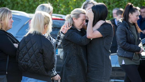 Mourners attend the funeral service for Clondalkin apartment fire victims Annmarie O'Brien, 27, her two-year-old daughter Paris, and their cousins three-year-old Holly and four-year-old Jordan at Colliers funeral home, Bray. Photo:Mark Condren