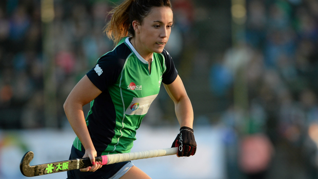 Anna O'Flanagan, here at the World Hockey League 2 Final in March, put up a defiant performance against Germany at Valencia yesterday