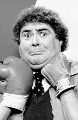 LAUGHS: Eddie Large in a typically comic TV pose