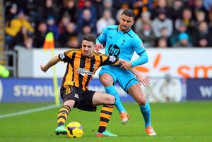 Robbie Brady of Hull City (L) could miss the rest of the season due to a recurring groin problem