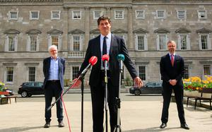 DIFFICULT PROCESS: Green Party TDs Malcolm Noonan, party leader Eamon Ryan and Roderic O'Gorman outside Leinster House. Photo: Gareth Chaney/Collins