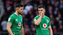 Ross Byrne (left) will start at out-half for Ireland in the absence of the injured Johnny Sexton. Photo by Brendan Moran/Sportsfile
