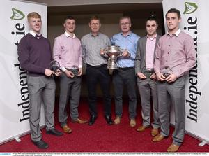28 April 2015; Players and management from University  Limerick, from left to right, Paul Maher, Brian Stapleton, Tony O'Sullivan, Brian Lohan, Brian Troy and Tommy Heffernan, after being presented with their Independent.ie HE GAA Rising Stars Hurling Awards, at the Independent.ie HE GAA Rising Stars Awards. Croke Park, Dublin. Picture credit: David Maher / SPORTSFILE