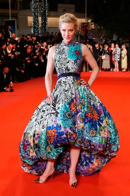 """Australian actress and President of the Jury Cate Blanchett poses as she arrives on May 10, 2018 for the screening of the film """"Cold War (Zimna Wojna)"""" at the 71st edition of the Cannes Film Festival in Cannes, southern France.  / AFP PHOTO / Valery HACHEVALERY HACHE/AFP/Getty Images"""