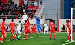 Republic of Ireland's Shane Duffy wins a header in front of the Gibraltar goal. Photo: Simon Galloway/PA Wire