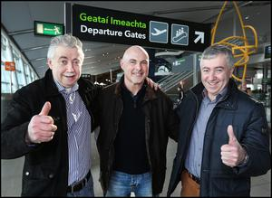 Heading off to the Cheltenham Racing Festival at Dublin Airport was from left, Brian Ludlow from Bray Wicklow, Gerard Townley from Bellewstown Co Meath and Edward Ludlow from Drogheda.