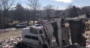 View of the scene following the accident when a train traveling from Washington to West Virginia carrying Republican members of the U.S. House of Representatives collided with a garbage truck, in Crozet, Virginia, U.S., January 31, 2018, in this picture grab obtained from a social media video. Congressman Steve King/via REUTERS