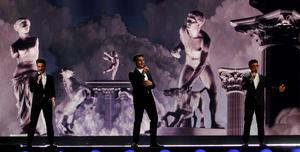 Italy's Il Volo performs the song 'Grande amore'. (AP Photo/Ronald Zak)