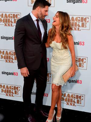 """Actors Joe Manganiello (L) and Sofia Vergara arrive for the premiere of the movie """"Magic Mike XXL"""" at the TCL Chinese Theatre in Hollywood, California"""