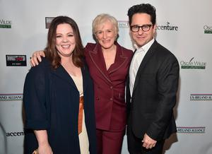 LOS ANGELES, CA - FEBRUARY 21:  Melissa McCarthy, Glenn Close and JJ Abrams attend Oscar Wilde Awards 2019 on February 21, 2018 in Los Angeles, California.  (Photo by Alberto E. Rodriguez/Getty Images for US-Ireland Alliance )