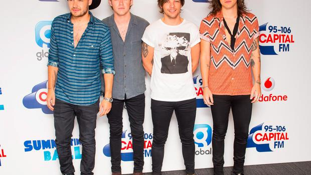 One Direction (left to right) Liam Payne, Niall Horan, Louis Tomlinson and Harry Styles backstage at the Capital FM Summertime Ball held at Wembley Stadium, London. PRESS ASSOCIATION Photo. Picture date: Saturday June 6, 2015. See PA story SHOWBIZ Summertime. Photo credit should read: Dominic Lipinski/PA Wire