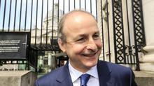 Fianna Fail leader Micheal Martin pictured leaving Government buildings after talks concluded on a programme for government.  Picture; Gerry Mooney