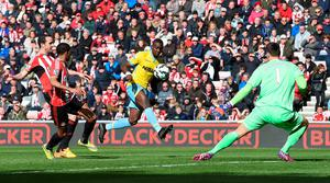 Bolasie scores Palace's second goal of the game at the Stadium of Light