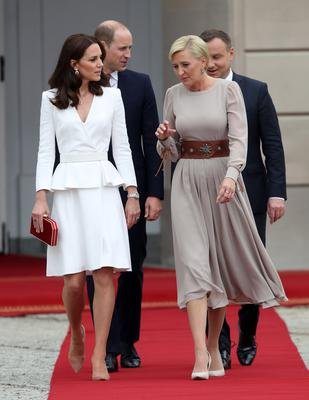 Catherine, Duchess of Cambridge and First Lady Agata Kornhauser-Duda during a visit with Prince William; Duke of Cambridge to the Presidential Palace on day 1 of their official visit to Poland on July 17, 2017 in Warsaw, Poland.  (Photo by Chris Jackson - WPA Pool/Getty Images)