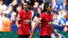 Angel di Maria (L) of Manchester United celebrates after scoring his team's second goal during the Barclays Premier League match between Leicester City and Manchester United at The King Power Stadium