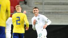Troy Parrott shows his delight after a cheeky finish for Ireland's third goal. Photo: Reuters