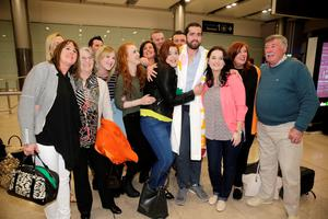 29/4/15 Patrick Lyttle arrives home at Dublin Airport from Australia, welcomed by his family and friends. Picture:Arthur Carron