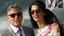 The happy couple, inset Clooney's wedding band