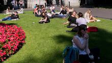 Dubliners enjoying the good weather in St Stephen's Green
