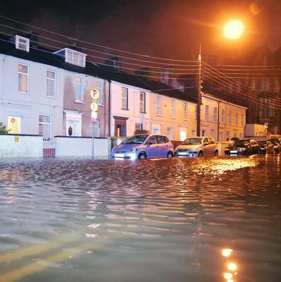 A flooded Sharman Crawford Street, Cork city after the River Lee broke its banks. Photo: Daragh Mc Sweeney/Provision