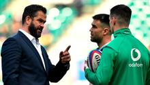 Point taken: Andy Farrell speaks with Conor Murray and Johnny Sexton before the game against England in February. Photo: Sportsfile