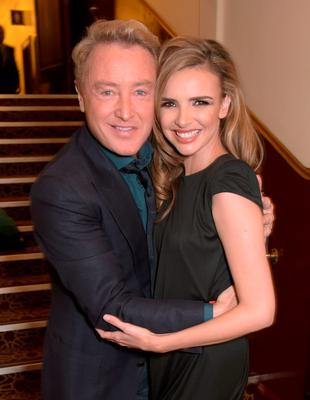 "Michael Flatley (L) and Nadine Coyle attend the after party following the Gala Performance of ""Lord Of The Dance: Dangerous Games"" at The Dominion Theatre"