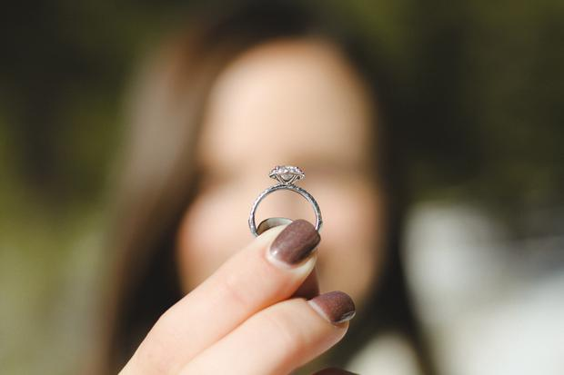 Woman playing with wedding ring
