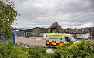 Gutted: Donegal fire services at the scene of the large fire in Letterkenny near the HSE stores holding PPE equipment. Photo: North West Newspix