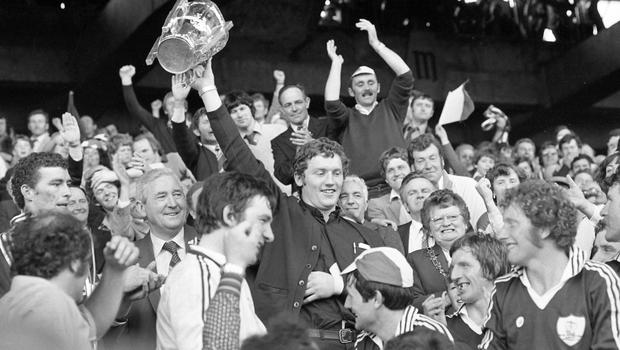 Clarke lifts the Liam MacCarthy Cup after the 1980 All-Ireland final against Limerick