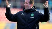 Celtic boss Ronny Deila celebrates at the end of his side's victory over Ross County at the Global Energy Stadium. Photo: Jeff Holmes/PA Wire