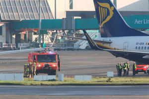 The two Ryanair aircraft that were involved in a collision at Dublin Airport this morning.