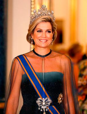 Queen Maxima of the Netherlands wears the Steward Tiara as she attends a State Banquet at Buckingham Palace in London, during their State Visit to the UK