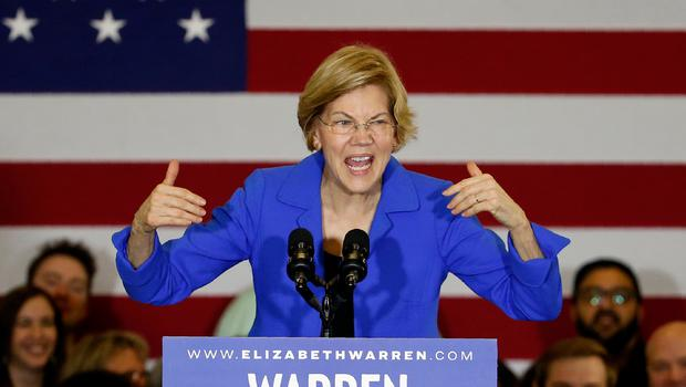 Democratic presidential candidate Sen. Elizabeth Warren, D-Mass., speaks to supporters at a caucus night campaign rally, Monday, Feb. 3, 2020, in Des Moines, Iowa. (AP Photo/Sue Ogrocki)
