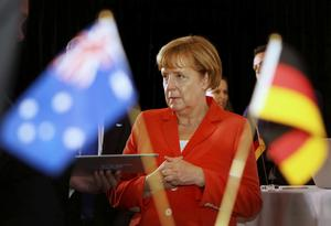 German Chancellor Angela Merkel at the Lowy Institute for International Policy function in Sydney. Merkel said Russia's annexation of Crimea and subsequent destabilisation of eastern Ukraine 'called the whole of the European peaceful order into question'. Photo credit: REUTERS/Niki Short/Pool