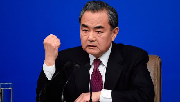 Chinese foreign minister Wang Yi at the Fifth Session of the 12th National People's Congress (NPC) in Beijing Picture: AFP