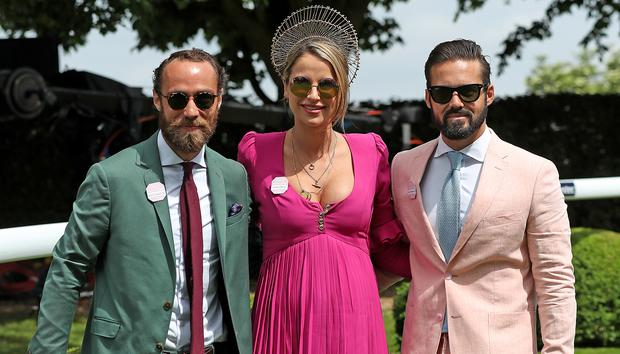 James Middleton, Vogue Williams and Spencer Matthews during ladies day of the 2018 Investec Derby Festival at Epsom Downs Racecourse, Epsom. (Photo by Steve Parsons/PA Images via Getty Images)