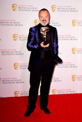 Graham Norton with the Entertainment Programme award for The Graham Norton Show, at the Baftas. Photo: Ian West/PA Wire